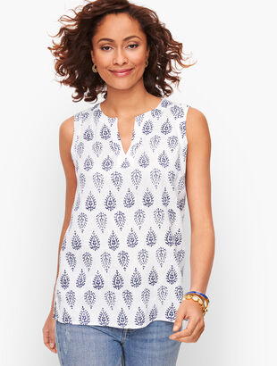Linen Split Neck Shell - Paisley