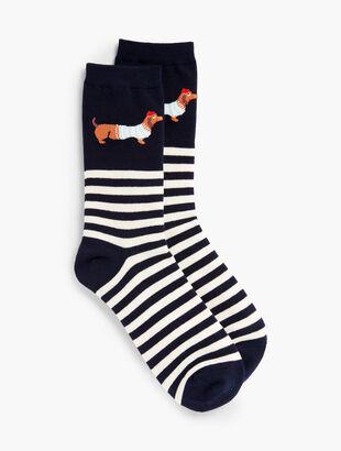 Dog in Stripes Trouser Socks