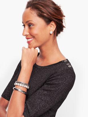 Diamante Button Shoulder Shimmer Sweater