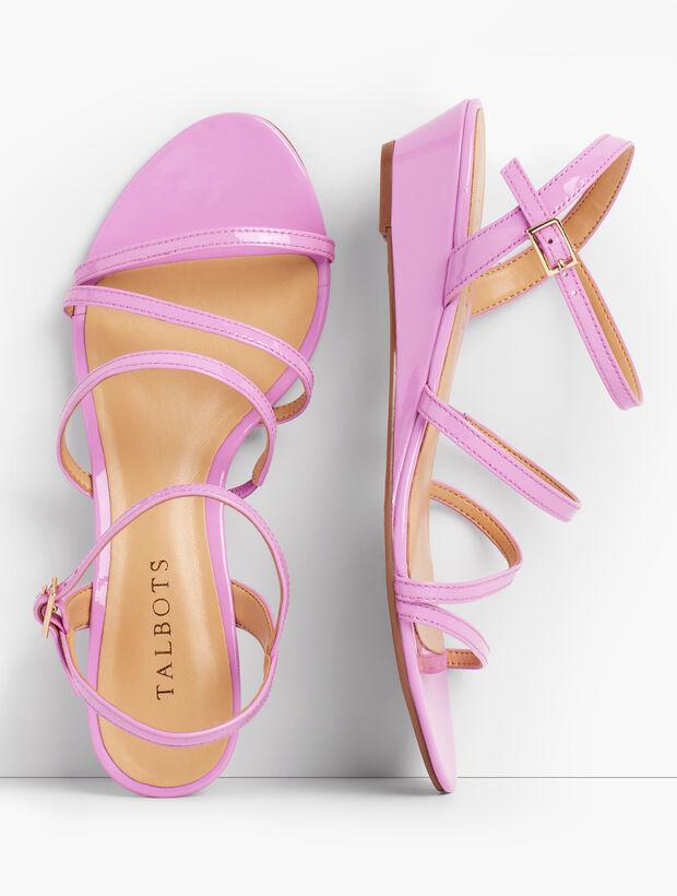 Capri Multi-Strap Mini-Wedge Sandals - Patent Leather