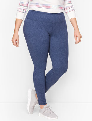 Textured Slip Pocket Leggings- Heathered