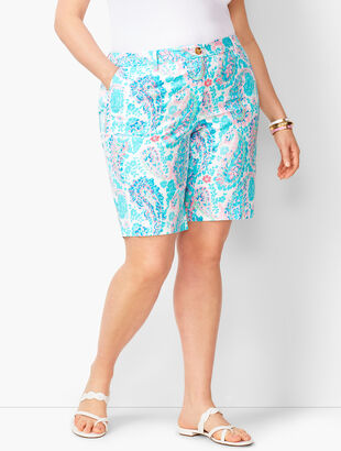 Plus Size Girlfriend Chino Shorts - Fresco Paisley