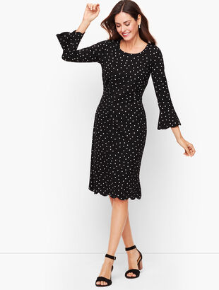 Dot Scallop Sleeve A-Line Dress