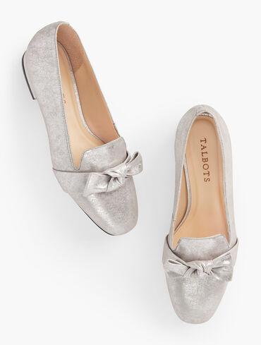 Jane Tie Detail Metallic Suede Loafers