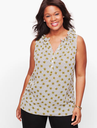 Sleeveless Ruffle Neck Popover - Daisy Dot