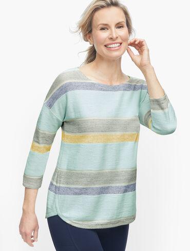 Textured Dropped Shoulder Pullover - Stripe
