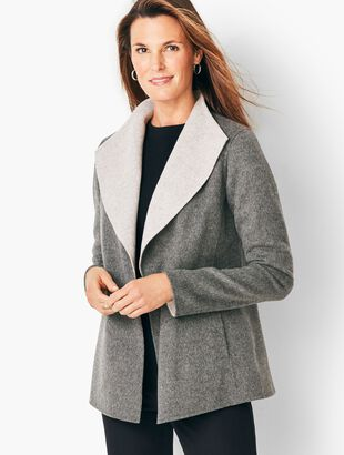 Open-Front Wool Jacket - Two-Tone