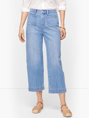 Wide Leg Crop Jeans - Tilden Wash
