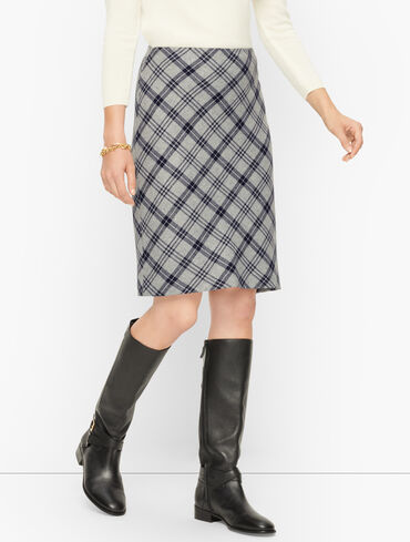Speckled Plaid A-Line Skirt