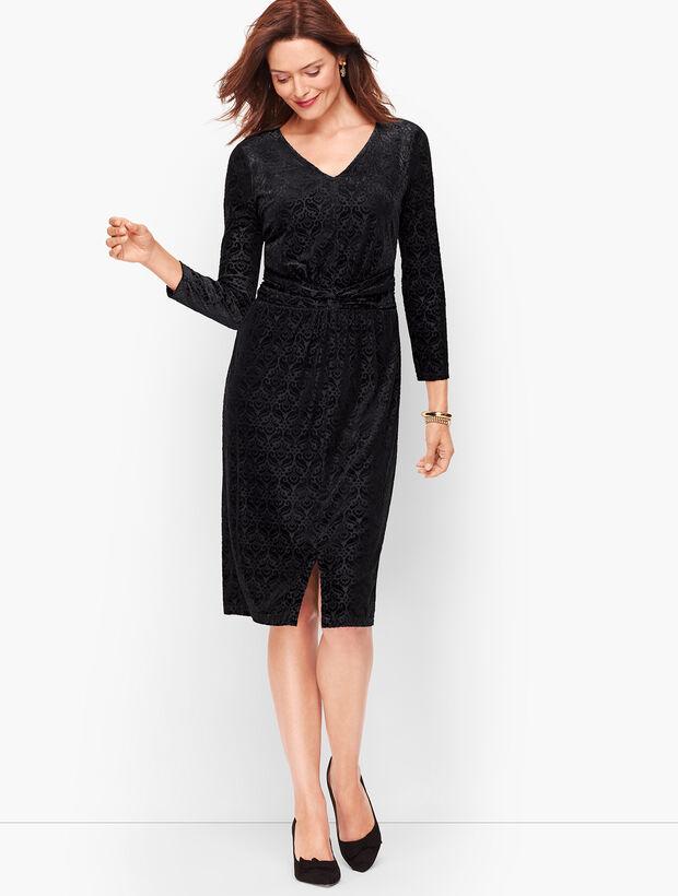 Velvet Jacquard Sheath Dress