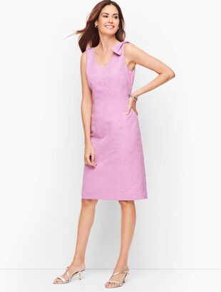 Matelassé  Bow Detail Shift Dress