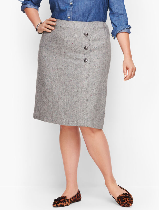 Faux Wrap A-Line Skirt - Donegal