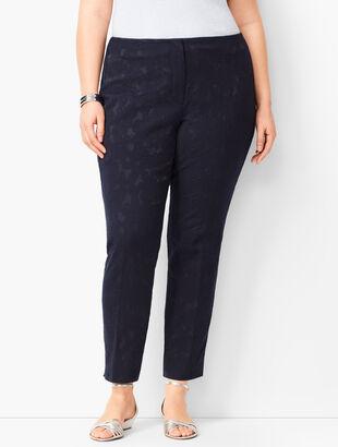 Plus Size Matelassé Tailored Ankle Pants