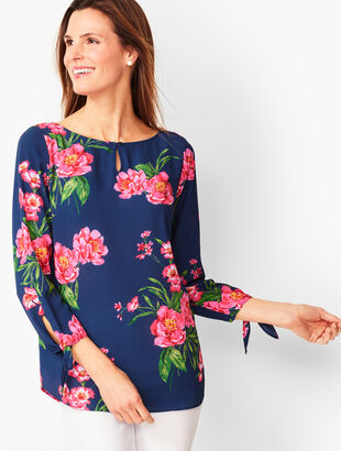 Floral Tie-Sleeve Blouse