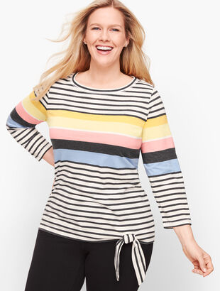Multi Stripe Side Tie Top