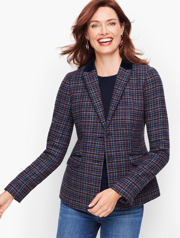 Mistletoe Plaid Shetland Wool Blazer