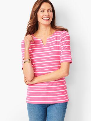 Cotton Split-Neck Tee - Bi-Color Stripe
