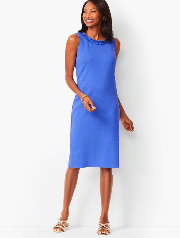 Pleat-Neck Shift Dress