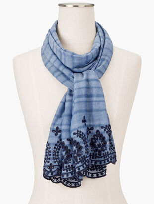 Embroidered Chambray Oblong Scarf