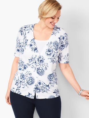 Kelly Cardigan - Traced Floral