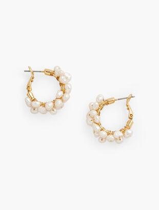 Clustered Freshwater Pearl Hoop Earrings