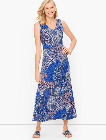 Knit Jersey Maxi Dress - Fresh Paisley