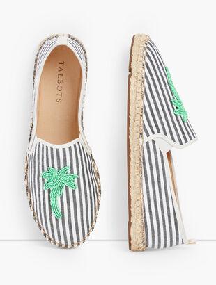 Izzy Espadrille Flats - Palm Embellished