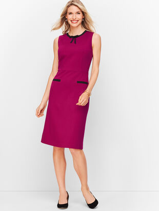 Tipped Ponte Tie-Neck Dress