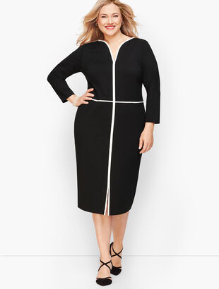 Tipped Ponte Sheath Dress - Black & Burgundy