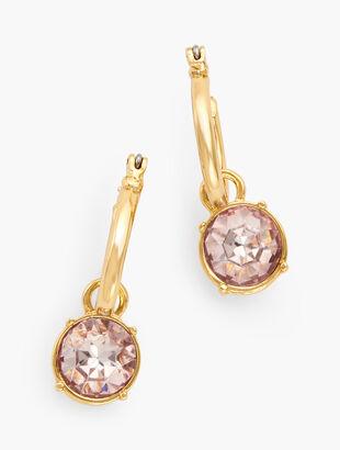 Two-In-One Crystal Charm Hoop Earrings