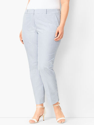 Lightweight Seersucker Slim Ankle Pants