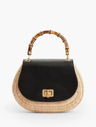 Bamboo-Handle Bag - Leather & Wicker