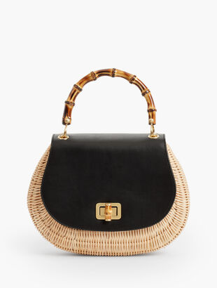 Bamboo-Handle Bag - Leather  amp  Wicker 9ef7c74d58d98