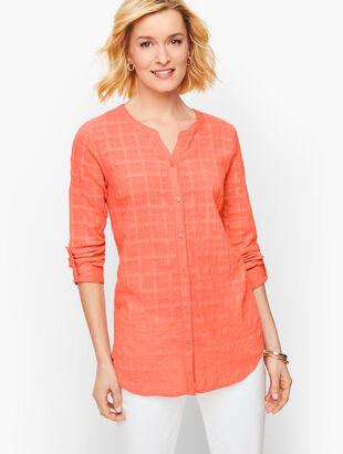 Textured Plaid Button Tab Shirt
