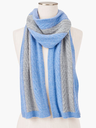 Colorblock Cashmere Cable Scarf