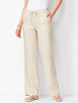 Washed Linen Wide-Leg Pants - Cross-Dyed