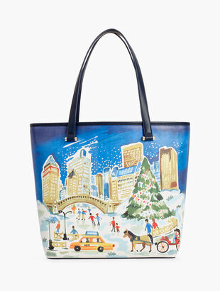 Central Park Split Leather Tote Bag