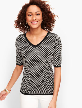Jacquard Dot Double V-Neck Sweater