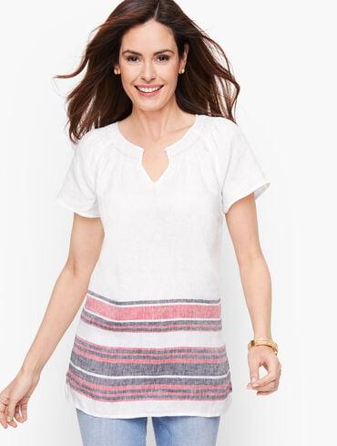 Border Stripe Linen Top