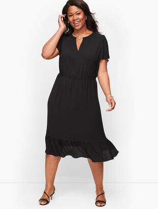 Plus Size Exclusive Flounce Hem A-Line Dress