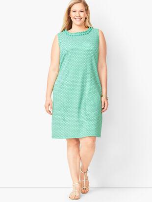 Pleat-Neck Shift Dress - Diamond-Print