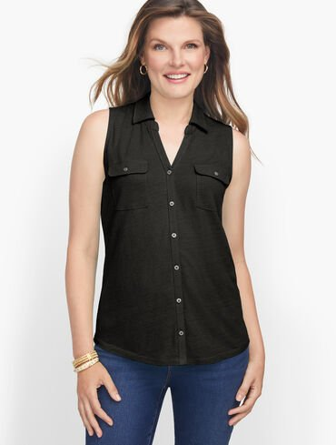 Soft Button Front Top