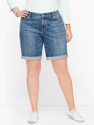 Plus Size Exclusive Girlfriend Denim Shorts - Ryder Wash