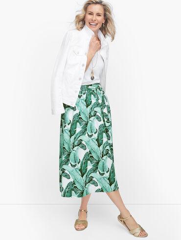 Linen Palm Leaves Midi Skirt