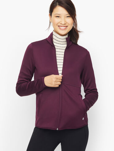 Brushed Scuba High-Low Jacket - Solid
