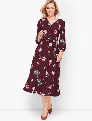 Crepe Fit & Flare Midi Dress
