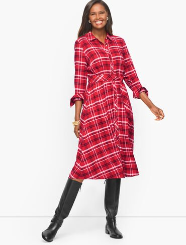 A-Line Shirt Dress - Holly Plaid
