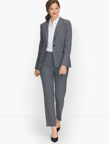Luxe Wool Single Button Blazer - Grey Mélange