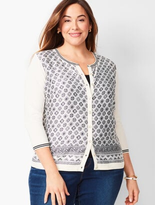 Charming Cardigan - Three-Quarter Sleeve - Floral Medallion
