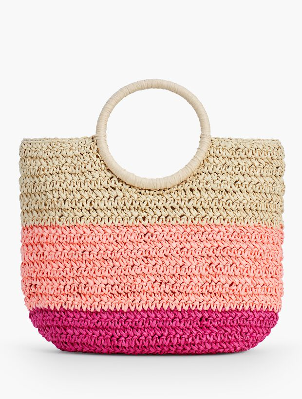 Crochet Straw Circle Handled Tote Talbots